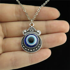 "18"" Silver Chain Collar Chunky Necklace Acrylic Blue Evil Eye Mirror Pendant"