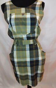 Esprit Women's Green Plaid Overall Dress size small sleeveless