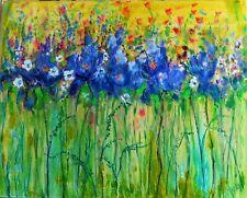 original oil painting -Blue Purple Iris and tiny white flowers - 16 x 20
