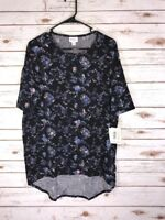 XS LuLaRoe Irma Tunic Floral Stain Glass Roses Blue Pink on Black Beautiful NWT