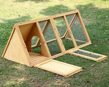 WOODEN OUTDOOR TRIANGLE RABBIT HUTCH AND RUN GUINEA PIG FERRET COOP CAGE RUNNING