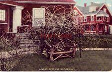 1911 LOVERS REST, FAR ROCKAWAY, L. I. bench under a gnarled bush