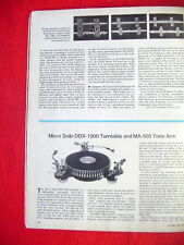 "Micro Seiki DDX-1000 turntable & MA-505 test review ""Stereo Review"" 1/77"
