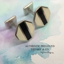 Authentic Rare Tiffany & Co. Paloma Picasso Zellige Black White Enamel Cuff Link