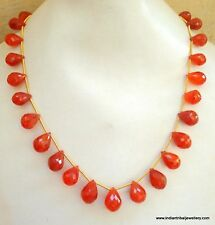190 ct carnelian gemstone bead drops necklace strand