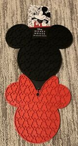 Disney Mickey & Minnie Mouse 2 Piece Silicone Trivets Red & Black Disneyana