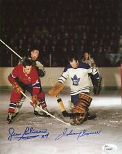JEAN BELIVEAU+JOHNNY BOWER HAND SIGNED 8x10 COLOR PHOTO     NHL LEGENDS      JSA