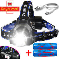 Headlamp Rechargeable Tactical T6 LED Headlight Torch Flashlight 90000LM 18650