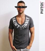 Pistol Boutique mens Charcoal Deep V neck SAINT SINNER Cross fashion t-shirt