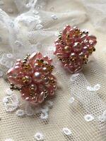 Clip On Earrings 1980s Vintage Earrings Pale Pink Flower Floral Bridal Beaded