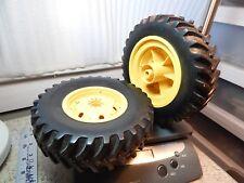 "7""x 2"" Toy Heavy Equipment rubber Tires Plastic Rims 7/16 Hex Drive & 5/16 Axle"