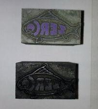 Lot of 2 ZERCO FISH Print Block Metal Wood base [1495]