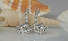 2.0CT ROUND ETERNITY DROP DANGLE DIAMOND EARRINGS IN 14KT SOLID WHITE GOLD
