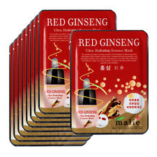 Red ginseng Face Mask Pack Sheet Moisture Essence Facial Skin Care 9pcs Unisex