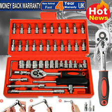 "46Pc Metric Socket Set 1/4"" Wrench Torx Ratchet Driver Screwdriver Bit Extension"