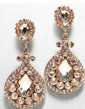 "3.5"" Clip On Champagne Peach Pageant Long Crystal Wedding Dangle Earrings"