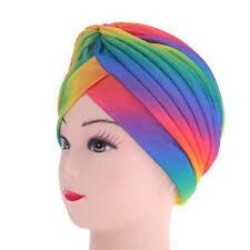 Zac`s Alter Ego Pleated RAINBOW Turbans Vintage Ideal For Hair Loss Or Fashion