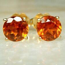Genuine Hessonite Garnet 2 carat Stud Earrings Round 6mm 14 K Yellow Gold