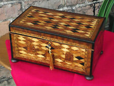 More details for tunbridgeware jewellery box with parquetry depicting a georgian house.