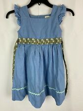 Matilda Jane Dress Size 6 Girl's Blue Country Cute Linen Cotton (TIP)