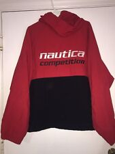 Men's Vintage Nautica COMPETITION Red Black Hooded Jacket L