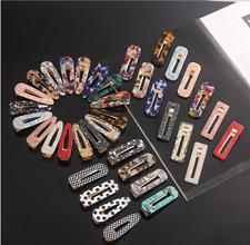 Women's Acrylic Hair Slide Clips Snap Barrettes Hairpin Pins Hair Accessories