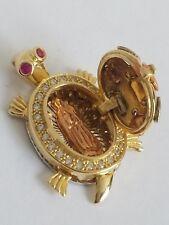 14k yellow white rose gold turtle good luck locket charm Pendant