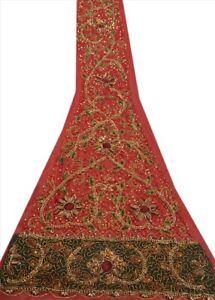 Tcw Saanskriti Vintage Design Fabric Hand Beaded  Craft Maroon Sequins Patch