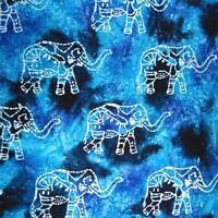 Elephant Batik, White on Blue Cotton Fabric, Per 1/2 Yd or Per Yd