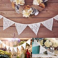 5x 2.3M Lace Hessian Burlap Banner Shabby Chic Bunting Wedding Party Decor VTG