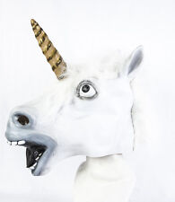 Máscara De Látex cabeza completa Unicornio Blanco Vestido de fantasía Caballo mitología Cosplay Fantasía