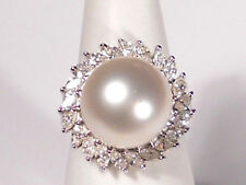 12.9mm white South Sea pearl ring, diamonds, solid 18k white gold