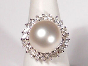 13mm  white South Sea pearl ring, diamonds, solid 18k white gold.