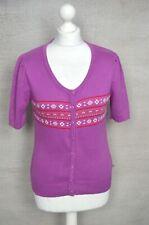 NESS Scotland pink-purple nordic fairisle short sleeve cardigan MEDIUM