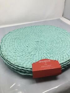 "OPALHOUSE Handmade Woven Placemats Aqua Round 15"" Paper 4 Pack"