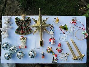 Vintage Retro Christmas Tree Decorations Glass Wood Plastic Baubles Ornaments