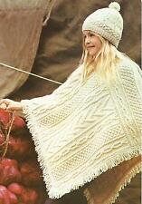 "Girls Poncho Knitting Pattern Aran Length 31""    275"