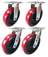 "8"" x 2"" Heavy Duty ""Polyurethane Wheel"" Caster - 2 Swivels & 2 Rigids"
