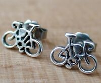 Bicycle Earrings - 925 Sterling Silver - Bike Post Stud Cycling Cycle Ride NEW
