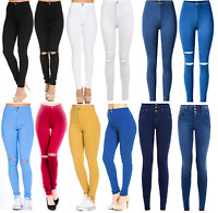 WOMENS HIGH WAISTED JEANS STRETCHY RIPPED KNEE JEGGINGS SKINNY LADIES PANTS 6-18