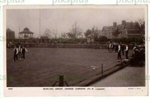 POSTCARD BOWLING GREEN GRANGE GARDENS CARDIFF ERNEST T BUSH REAL PHOTO USED 1914