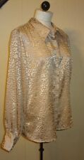 NWT  Dialouge Size 12 QVC Tags Sheer Light Brown--Taupe L/S Button Down  Top