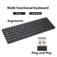 96 Keys Slim Silent Wireless Ergonomic Keyboard USB Receiver For Laptop Desktop