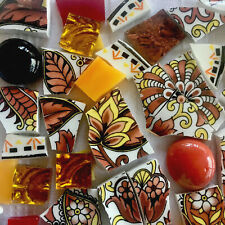 New ListingBroken China Plate Mosaic Tiles~Autumn Flowers, Leaves~Glass~Vintage Old Foley