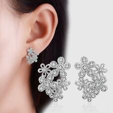 Ladies Fashion Jewellery Zircon Flower Solid 925 Sterling Silver Stud Earrings