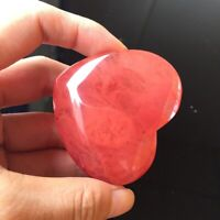Natural Rose Quartz Heart Watermelon Red Crystal Carved Palm Love Gemstone Craft