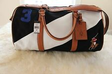 9bf32ac25c Polo Ralph Lauren Canvas Watch Leather Detail Duffel Bag in Black White
