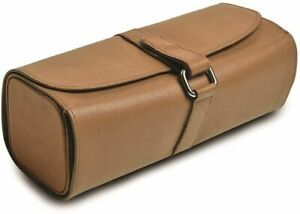 Tan Leather Snap Strap Large Jewelry Roll