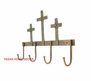 Cross Key Holder 4 Hooks Hanger Tin Metal Coat Holder Rustic Copper Finish