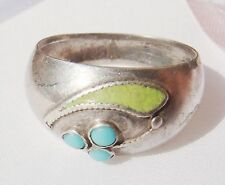 VINTAGE GUILLOCHE ENAMEL 875 STERLING SILVER RING with TURQUOISE size 7